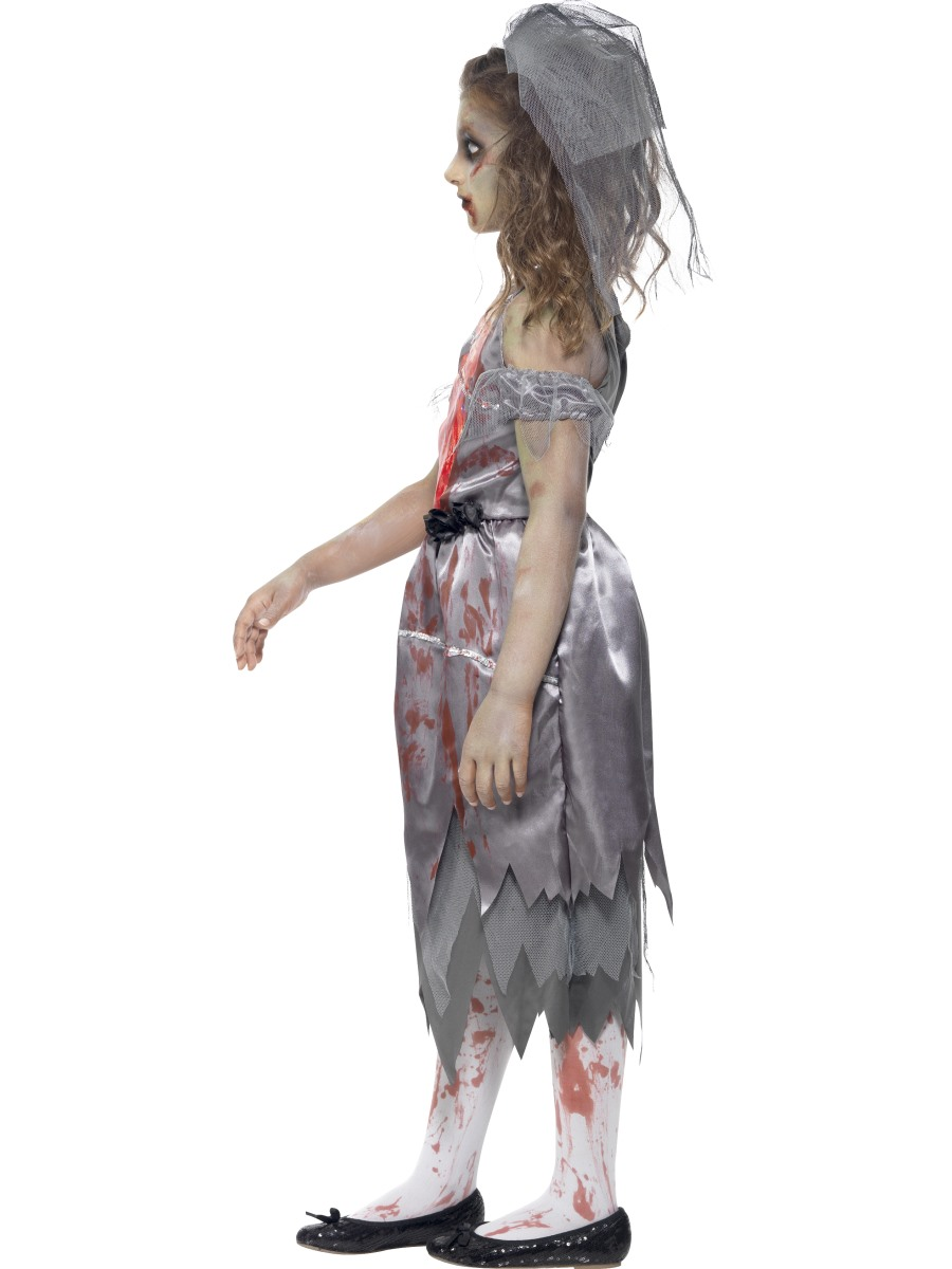 Childrens Zombie Bride Fancy Dress Costume Halloween Corpse Outfit Childs M