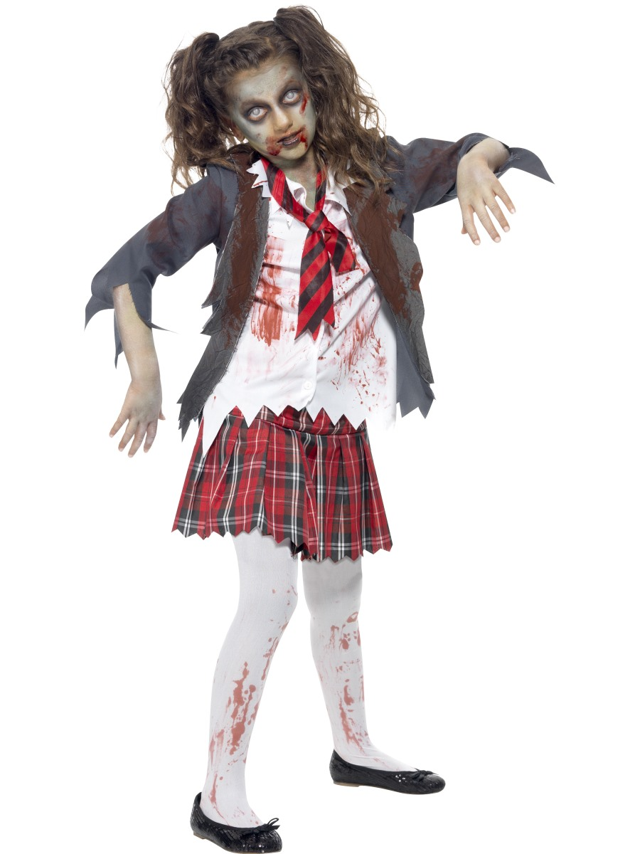 Child Zombie School Girl Costume - Girls Halloween Costumes Fancy Dress Ball