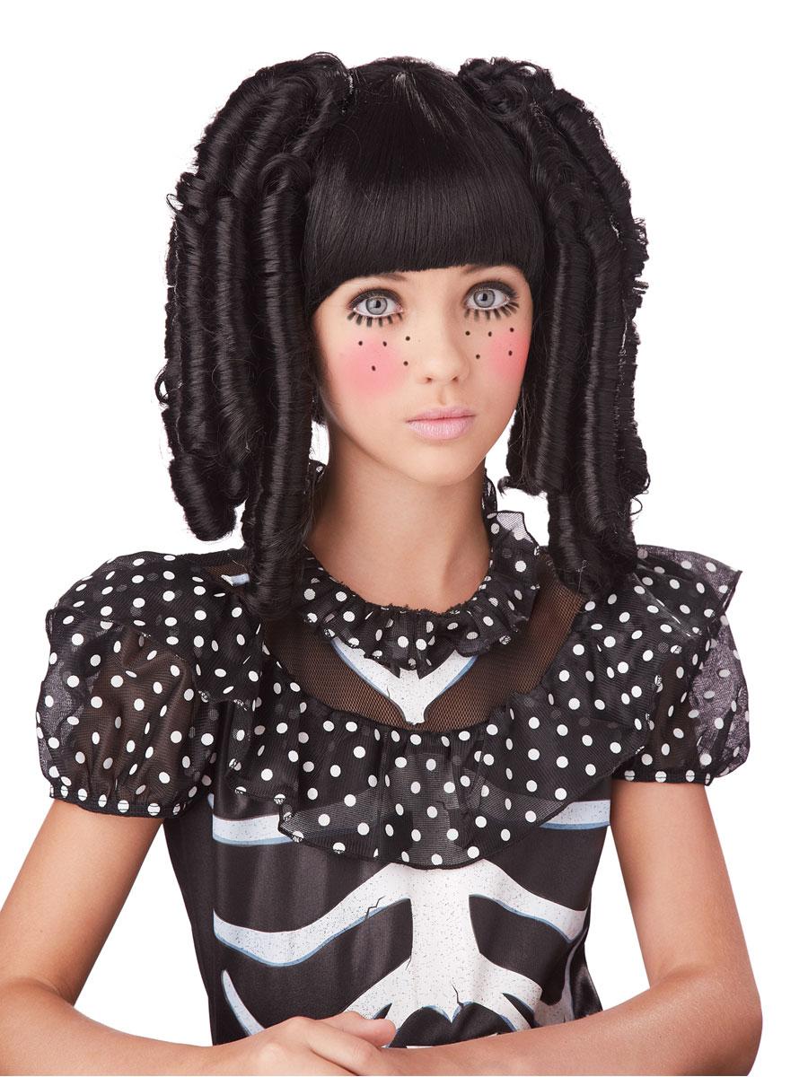 Childrens Black Baby Doll Curls Wig 70692 Fancy Dress Ball