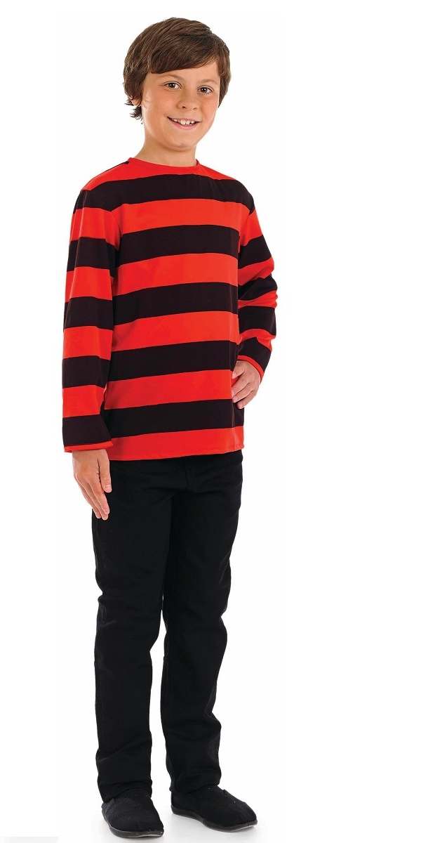 Child Red And Black Striped Shirt Fs3584 Fancy Dress Ball