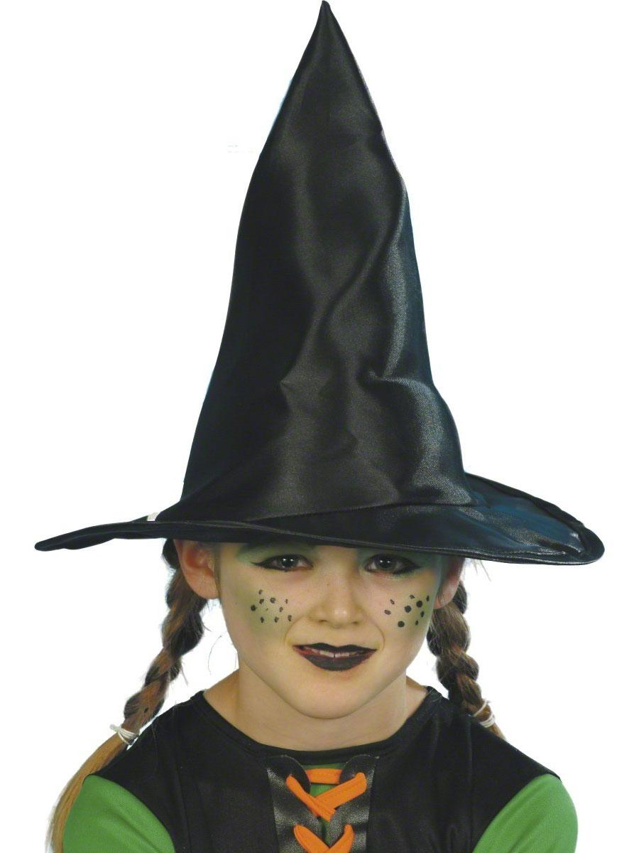 Childrens witch hat black fabric 23122 fancy dress ball - Maquillage sorciere fillette ...