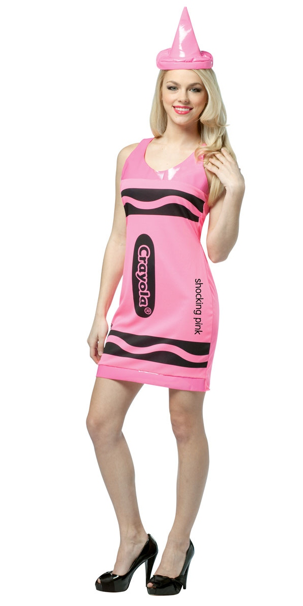Adult Crayola Crayons Neon Pink Tank Dress Costume - 4451122 ...