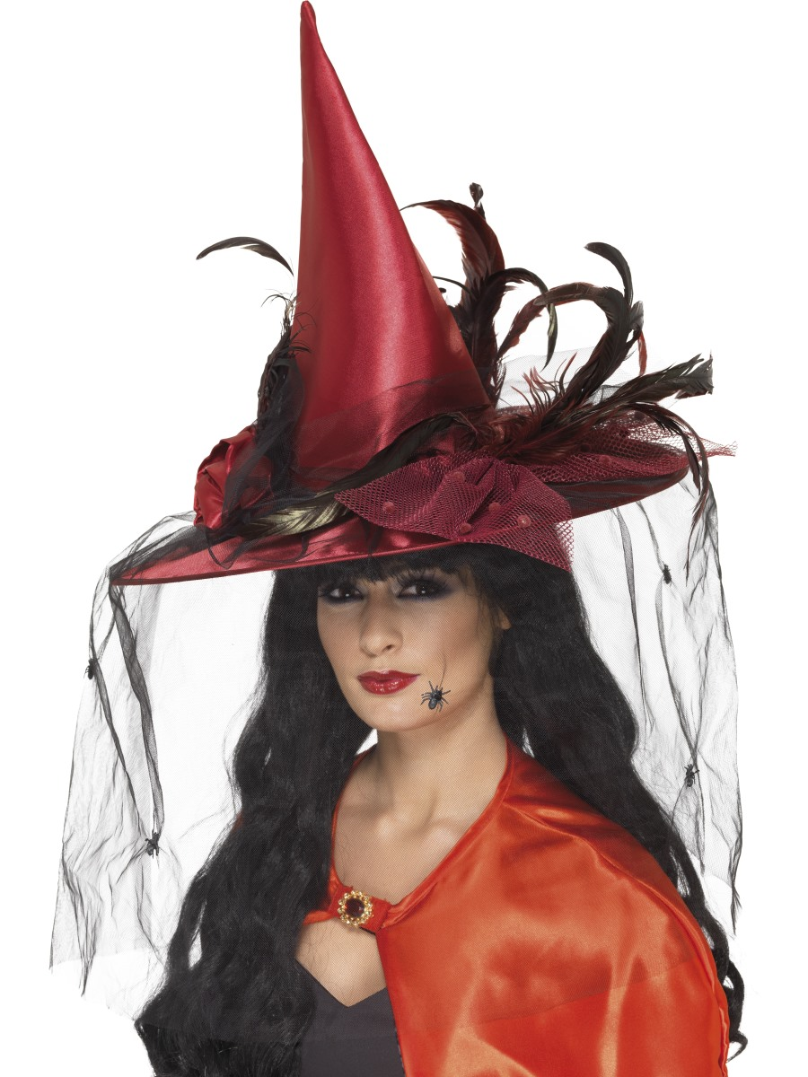 Deluxe Deep Red Witch Hat - 36720 - Fancy Dress Ball