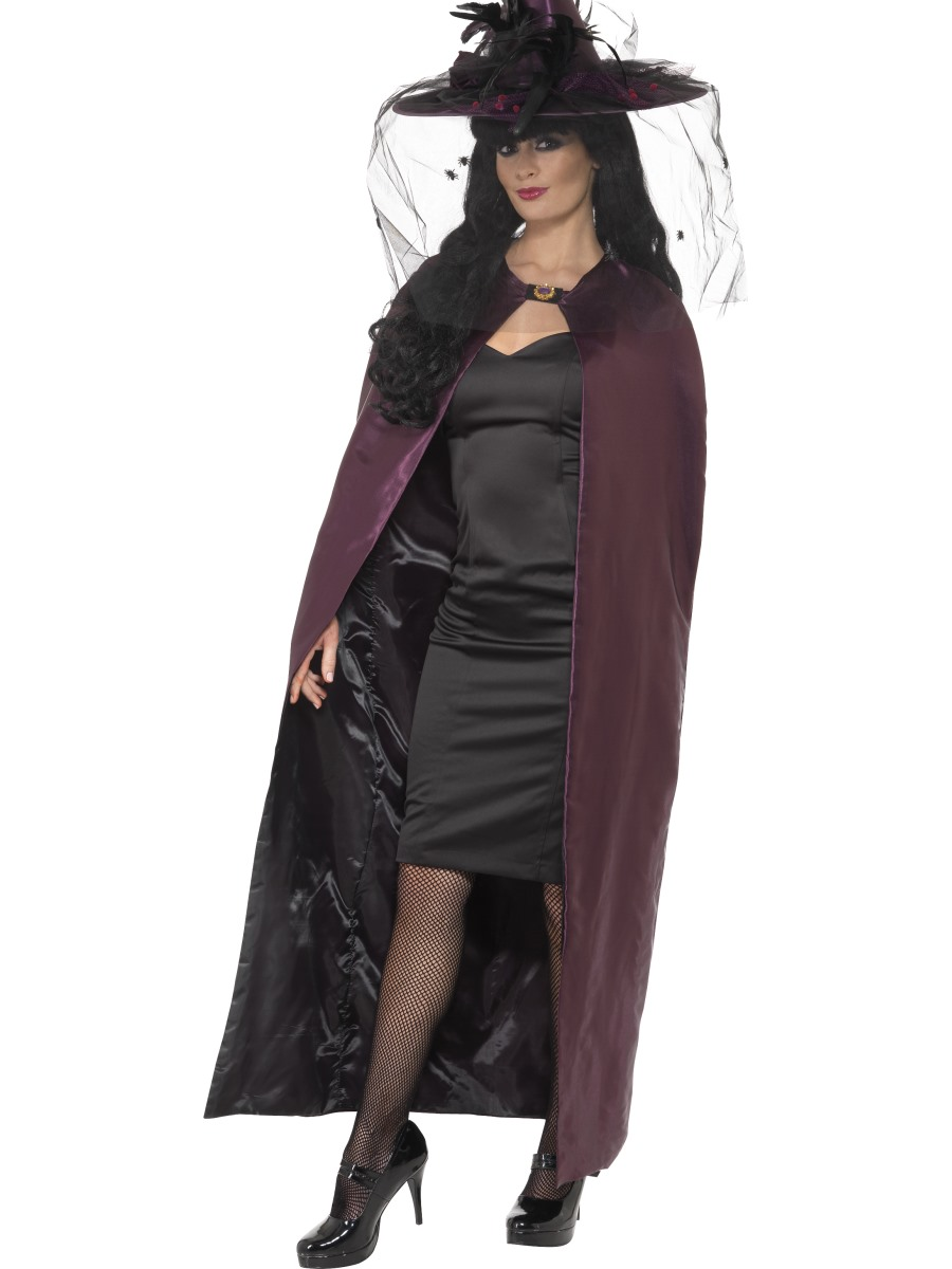 Deluxe Purple And Black Reversible Witches Cape 36873