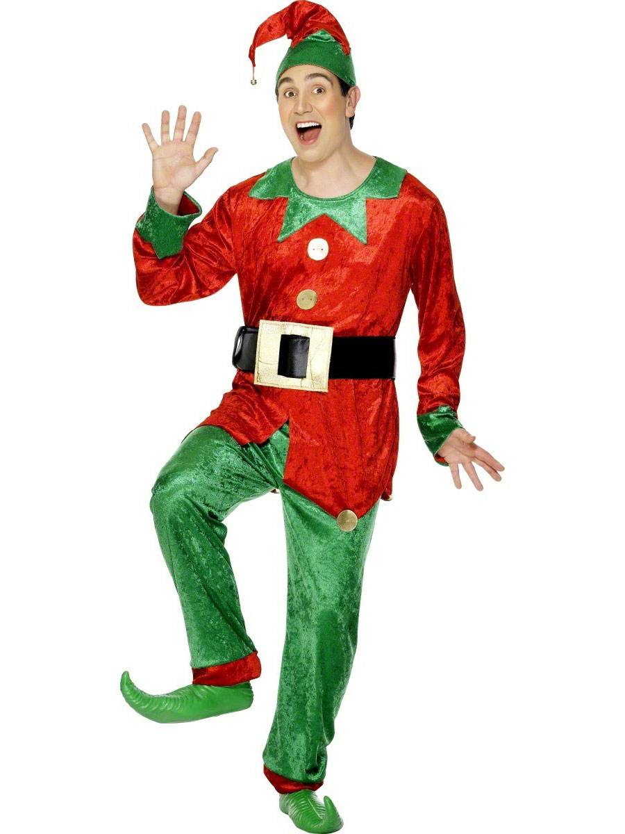 Adult elf costume green red costume 31781 fancy dress ball