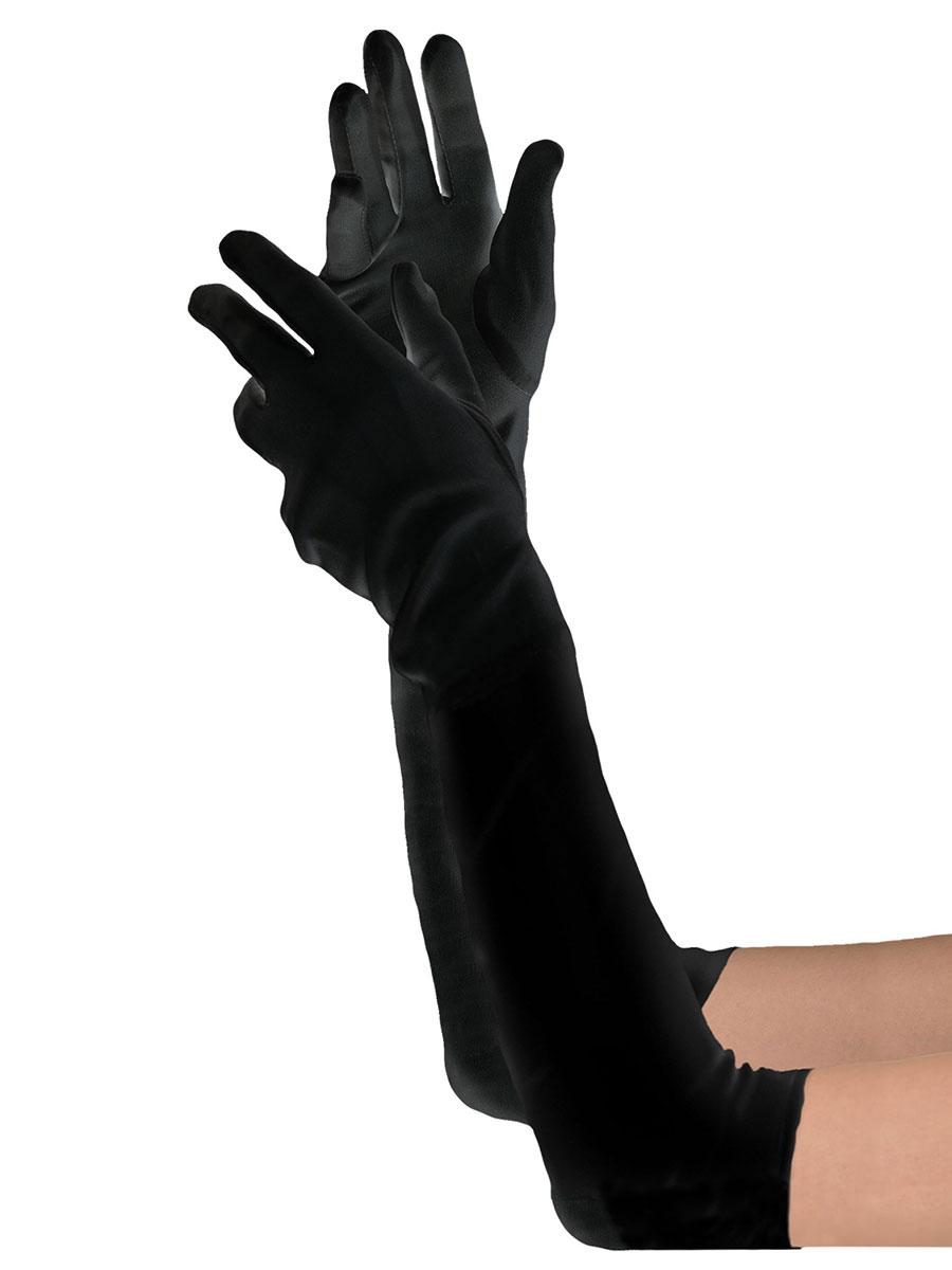 Extra Long Black Satin Gloves 840206 55 Fancy Dress Ball