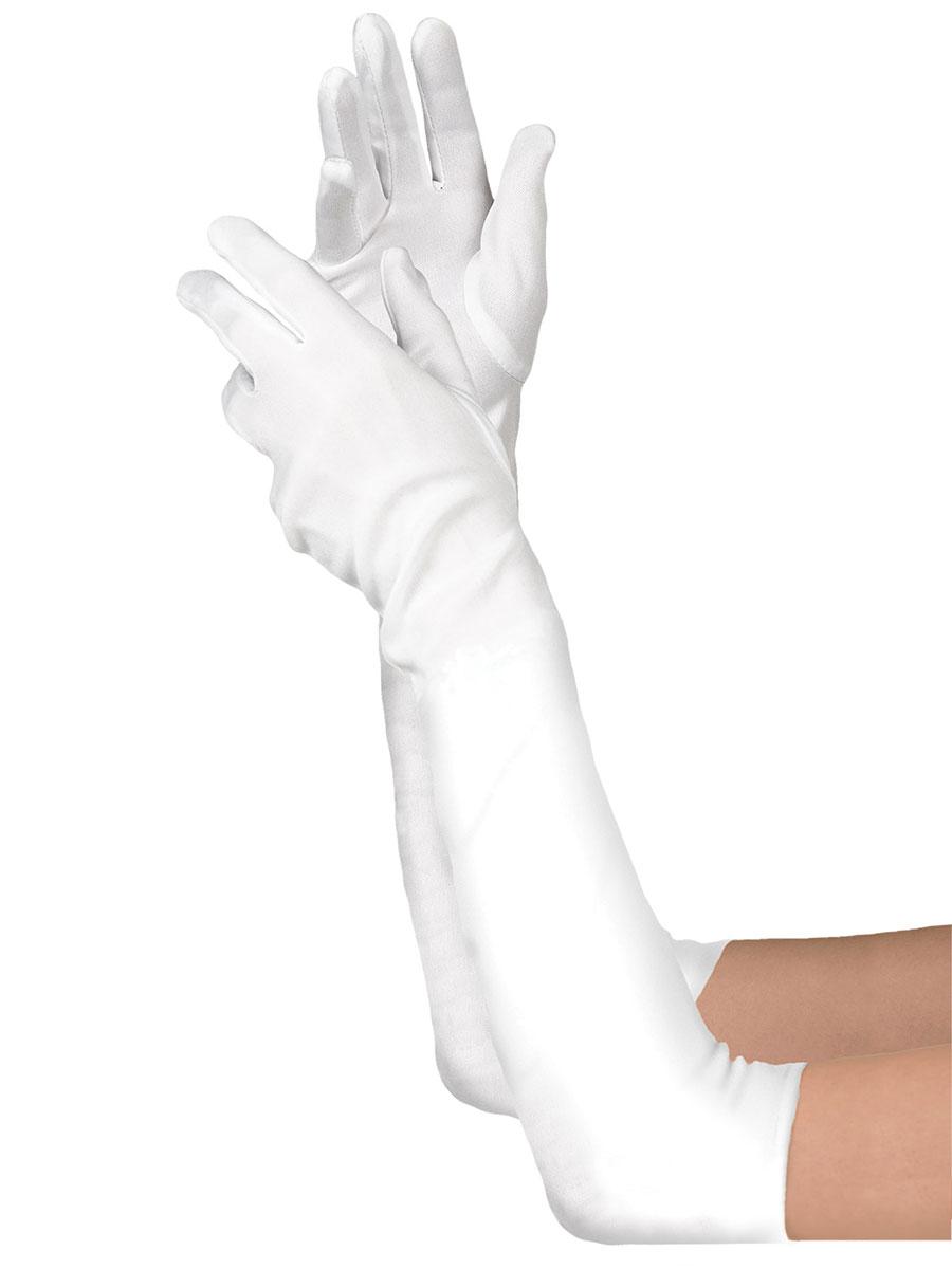 Extra Long White Satin Gloves - 840207-55 - Fancy Dress Ball