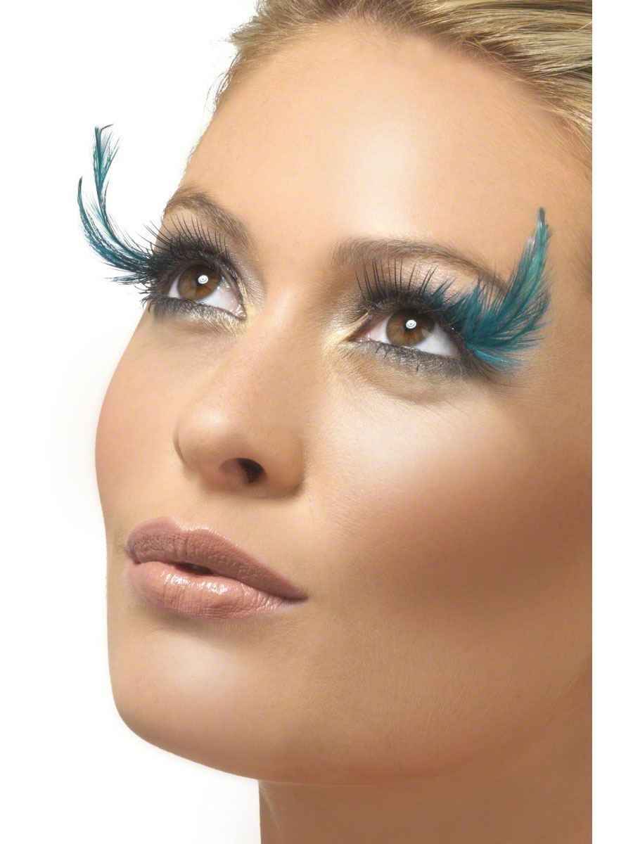 30f9480e4f4 Eyelashes Black and Green with Feather Plume - 37133 - Fancy Dress Ball