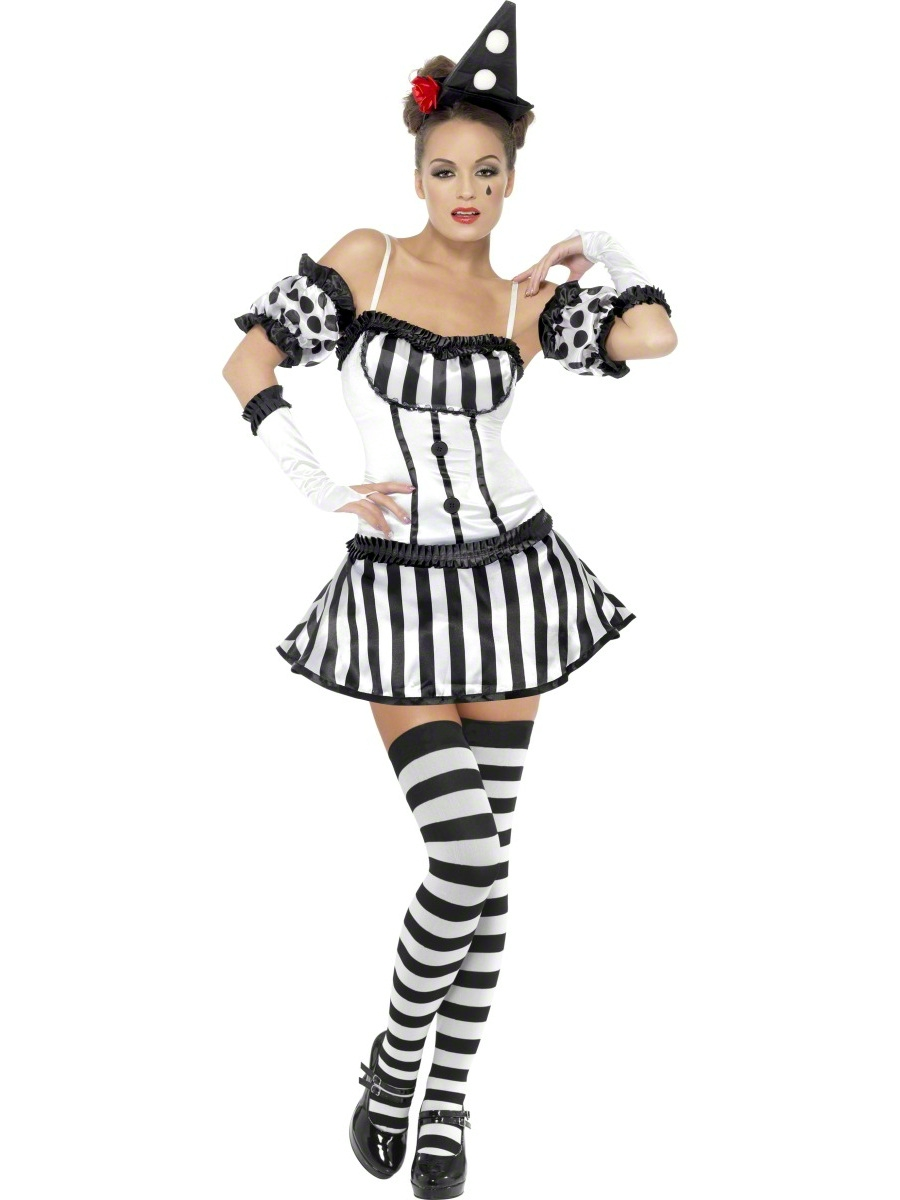 Adult Fever Clown Mime Diva Costume 33295 Fancy Dress Ball