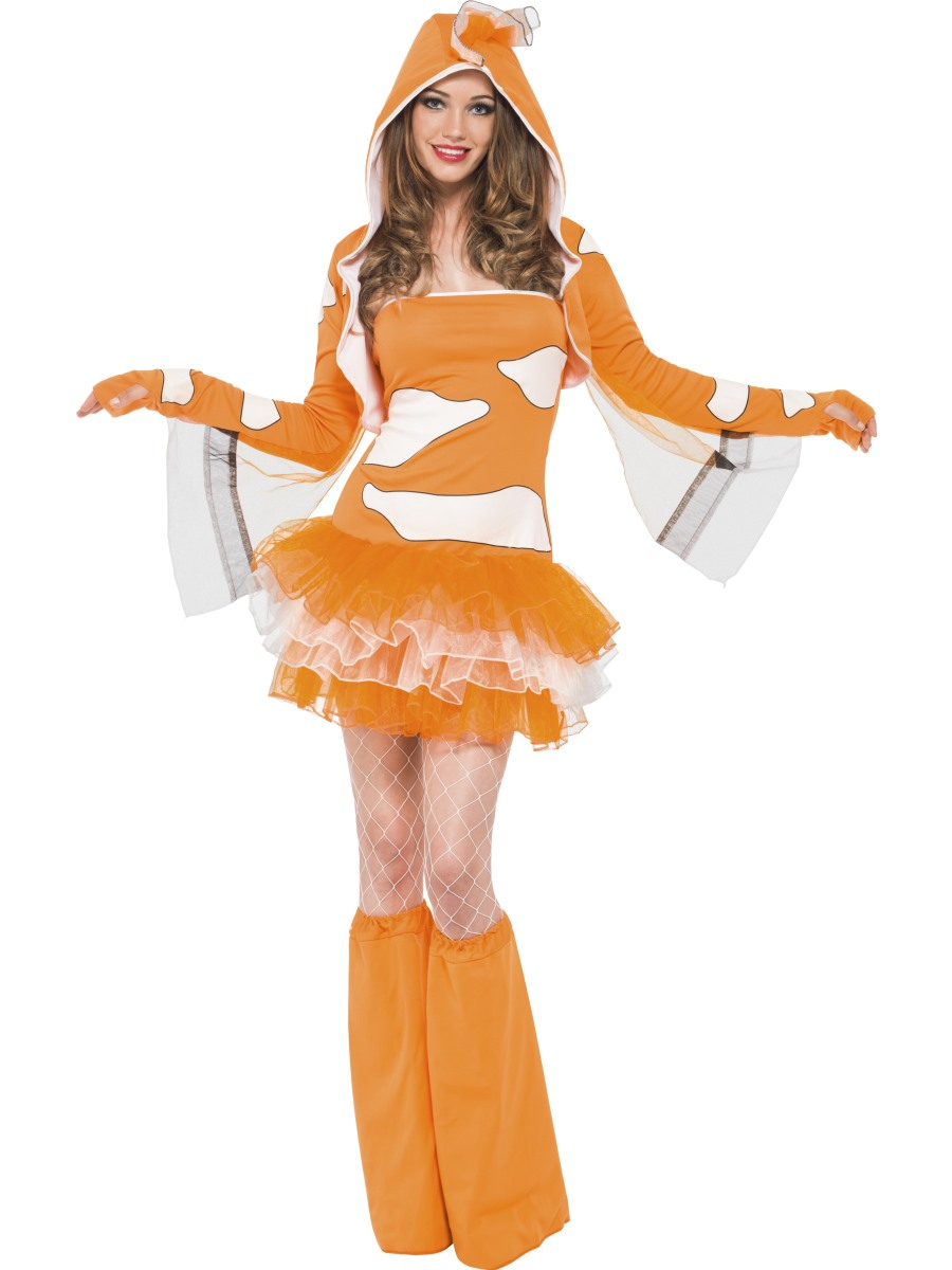 Adult fever clownfish costume 45361 fancy dress ball for Sexy fish costume