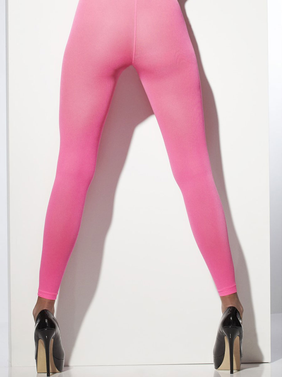 Footless tights neon pink 42719 fancy dress ball