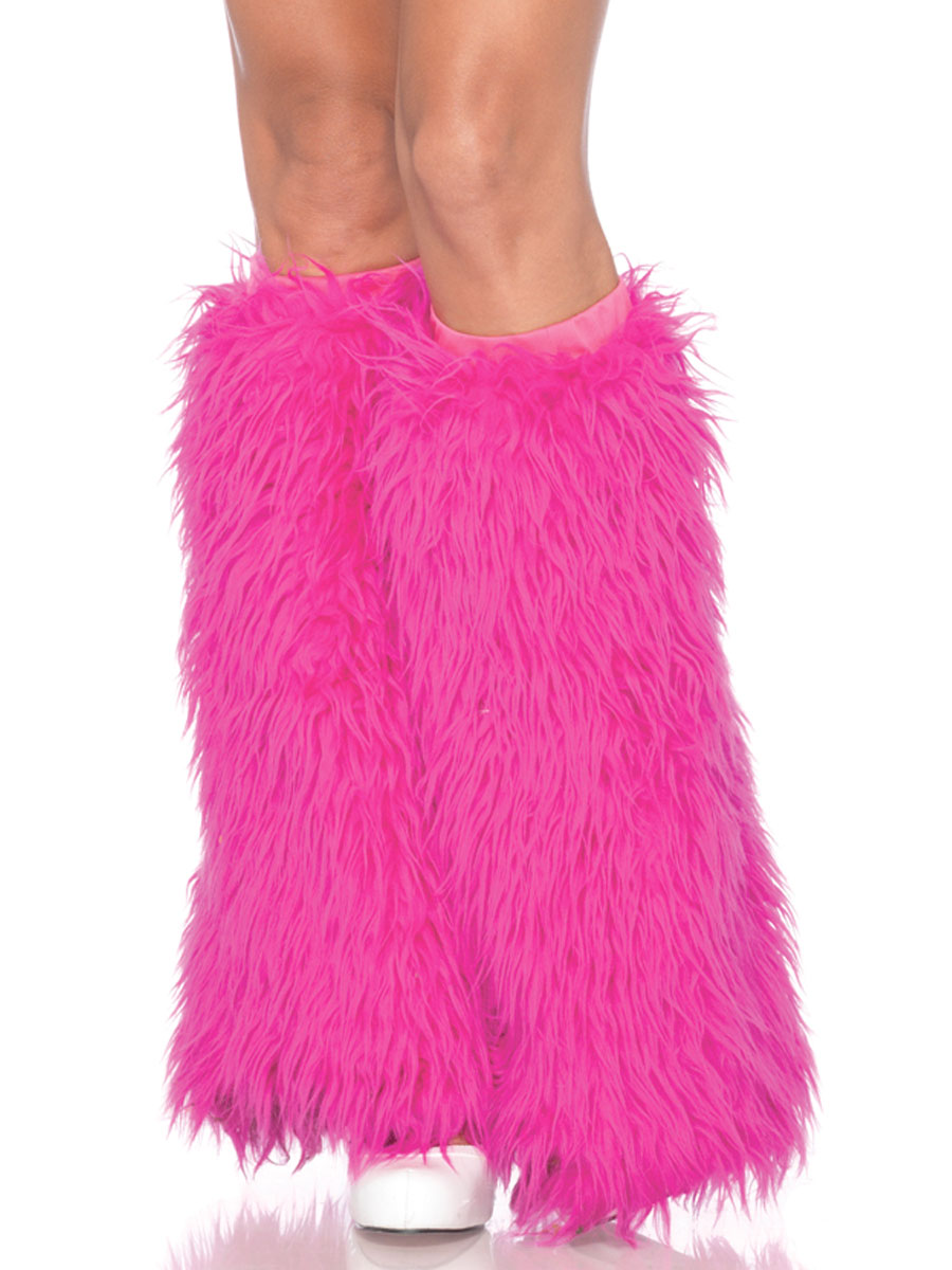Hot Pink Furry Leg Warmers - 3934HP - Fancy Dress Ball