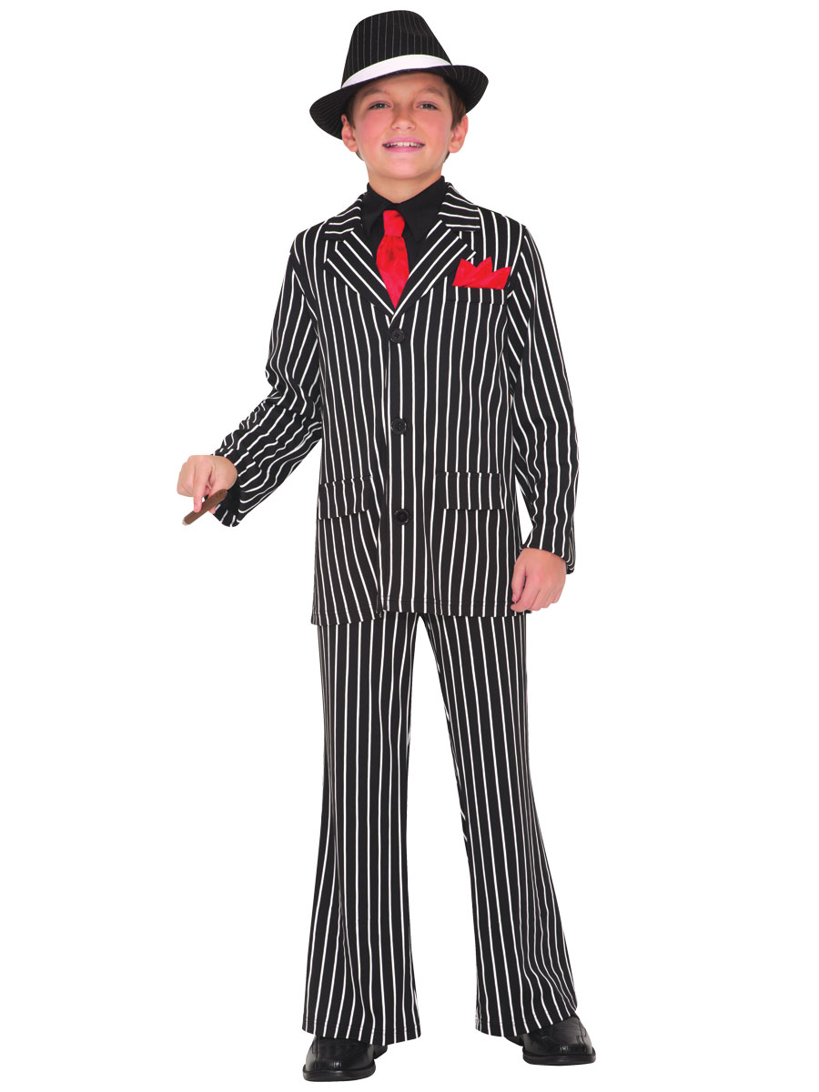 Mens White Gangster Pinstripe Suit 1920s Al Capone Buggsy Fancy Dress Costume