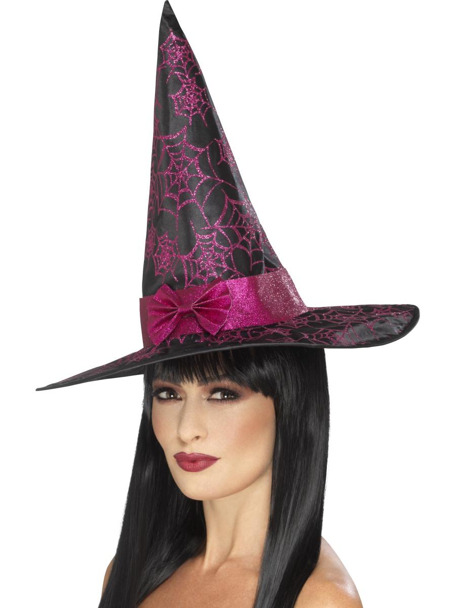 Glitter Cobweb Witch Hat 45097 Fancy Dress Ball