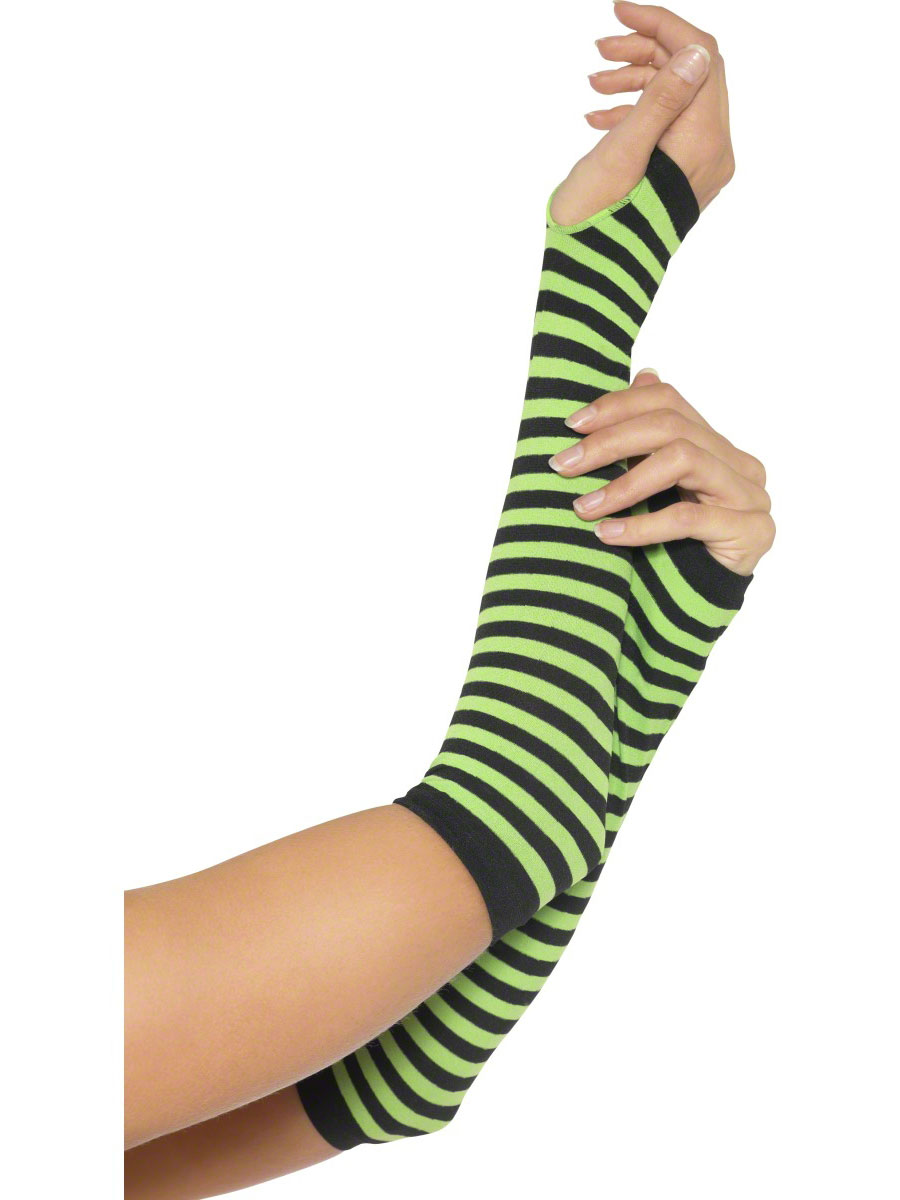 Green And Black Striped Glovettes 28321 Fancy Dress Ball