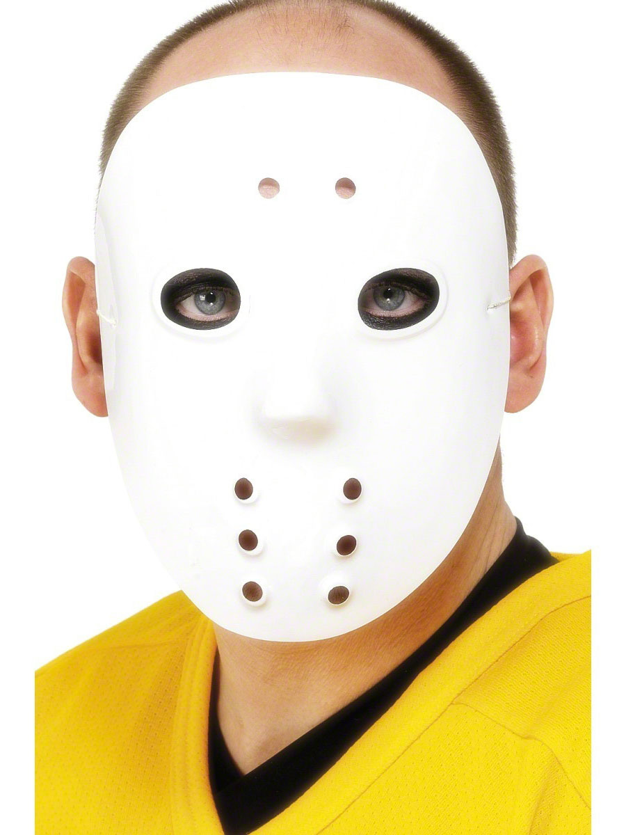 Hockey Face Mask White Pvc - 1874 - Fancy Dress Ball