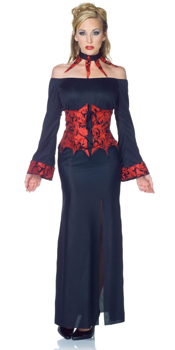 Wonderful Vampire Costume Adult Gothic Vampiress Halloween Fancy Dress  EBay