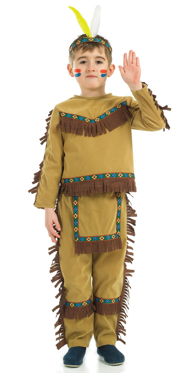 One Size NATIVE INDIAN MAN TRIBAL CHIEF WILD WEST mens fancy dress costume