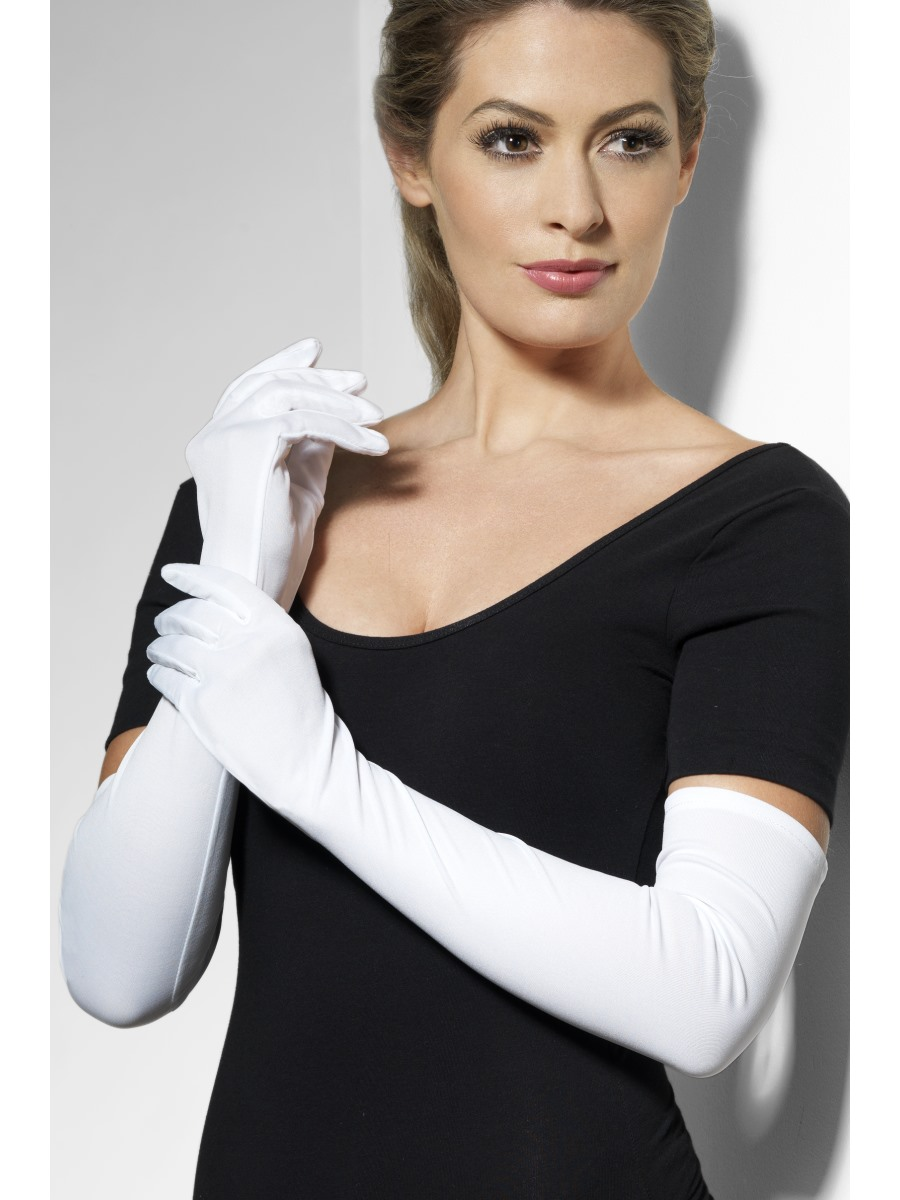 Jersey Gloves White Fabric 9366 Fancy Dress Ball