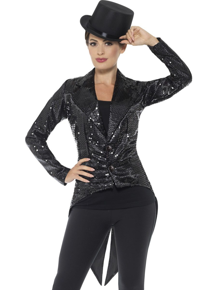 Ladies Black Sequin Tailcoat Jacket - 46959 - Fancy Dress Ball