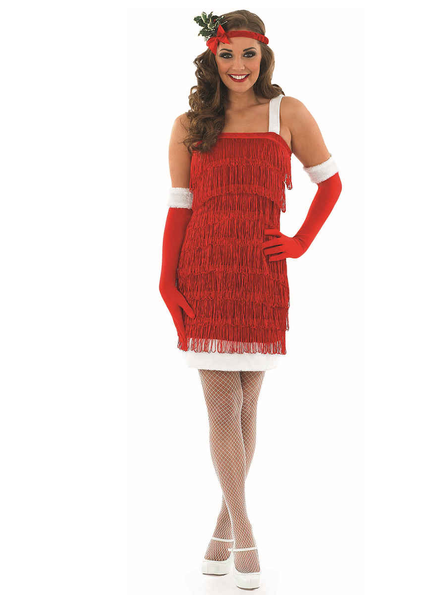Adult ladies christmas flapper costume fs3608 fancy dress ball