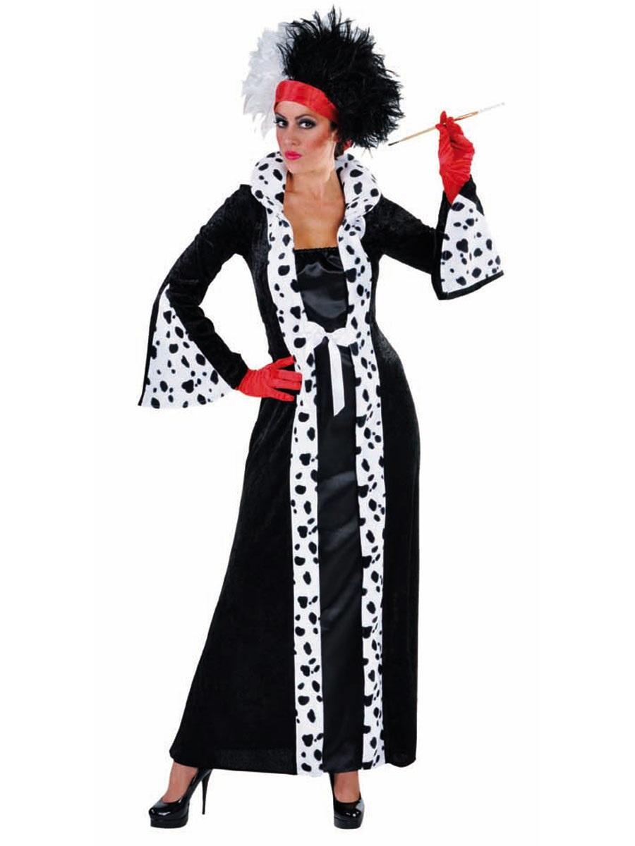 ladies deluxe cruella deville costume 214155 fancy dress ball. Black Bedroom Furniture Sets. Home Design Ideas