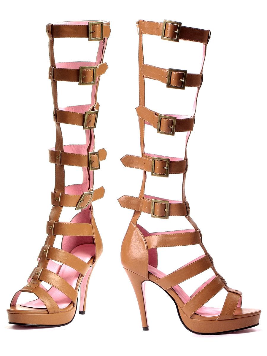 """Roma 4/"""" Faux Leather Tan Platform Sandals"""