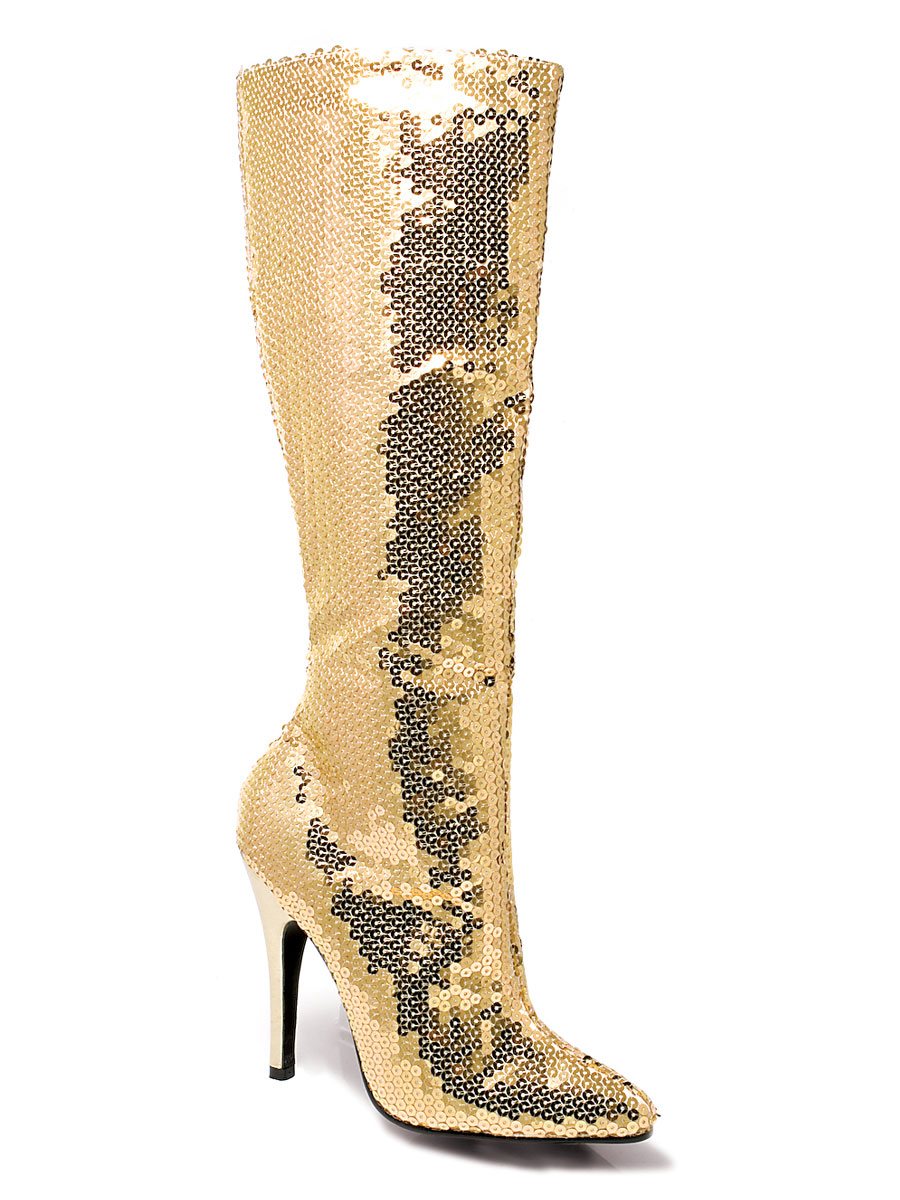 gold sequin knee boots 511tingld fancy dress