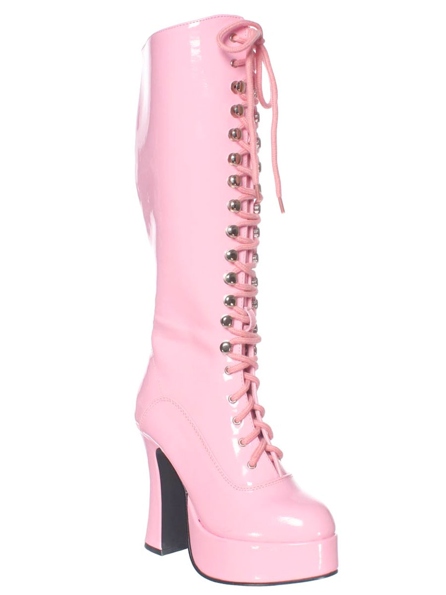 Ladies Pink Lace Up Knee Boots Easypnk Fancy Dress Ball