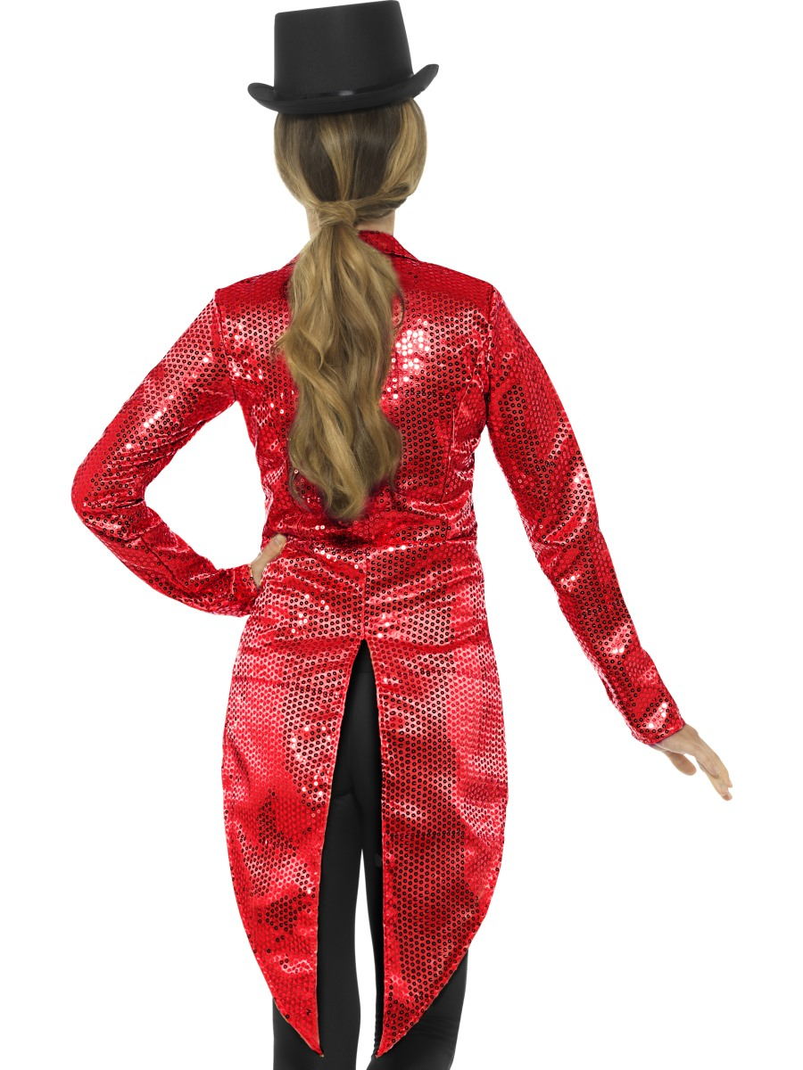 Ladies Red Sequin Tailcoat Jacket 46958 Fancy Dress Ball