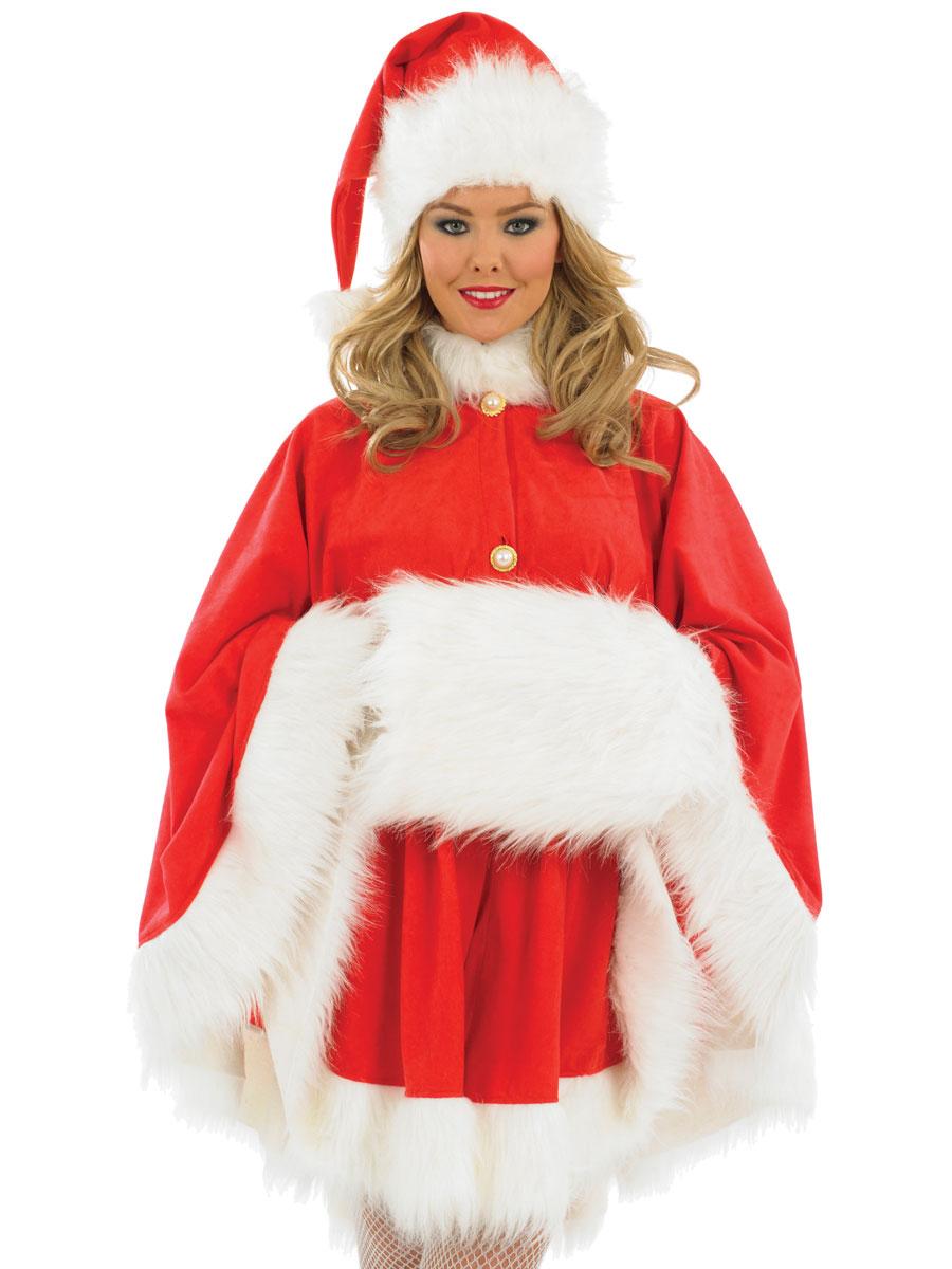 Adult ladies santa cape costume fs fancy dress ball
