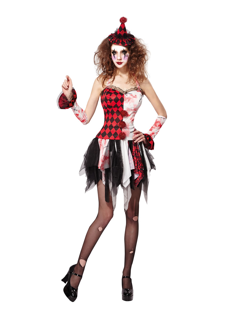 Ladies Scary Jester Lady Costume Af026 Fancy Dress Ball