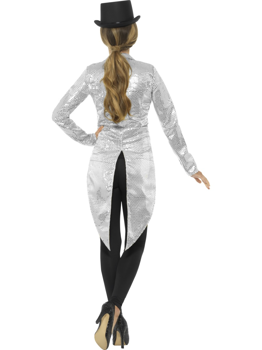Ladies Silver Sequin Tailcoat Jacket 21153 Fancy Dress
