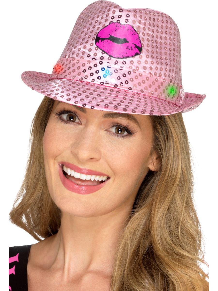 471a8739f3518 Light Up Sequin Hen Party Trilby Hat - 48336 - Fancy Dress Ball