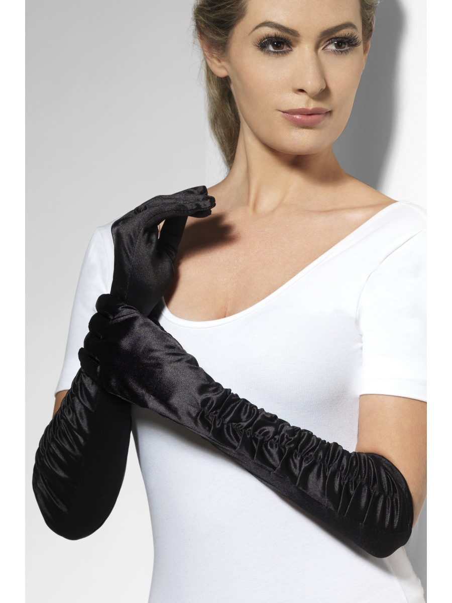 Long Temptress Gloves Black 26278 Fancy Dress Ball