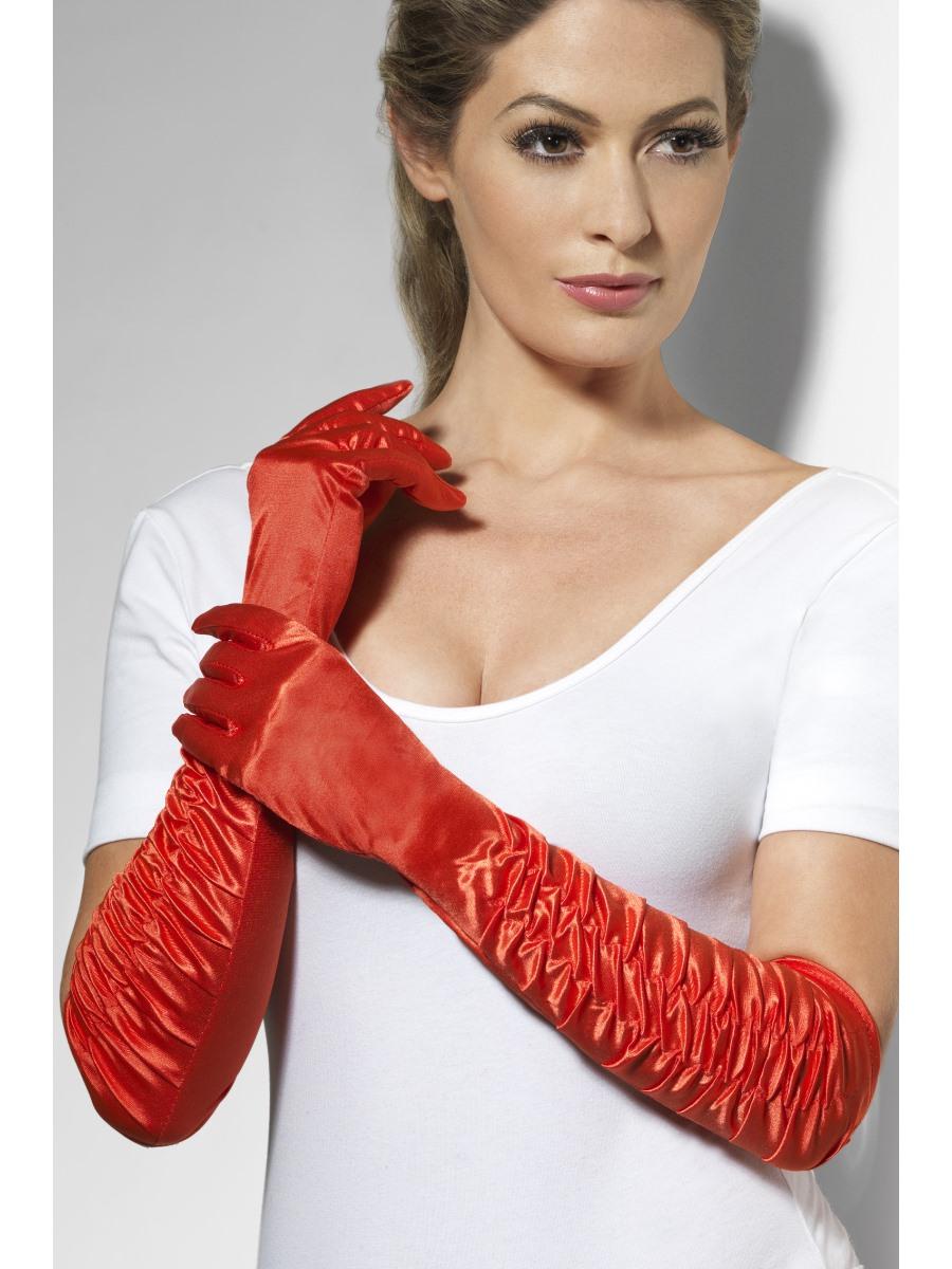Long Temptress Gloves Red - 26345 - Fancy Dress Ball