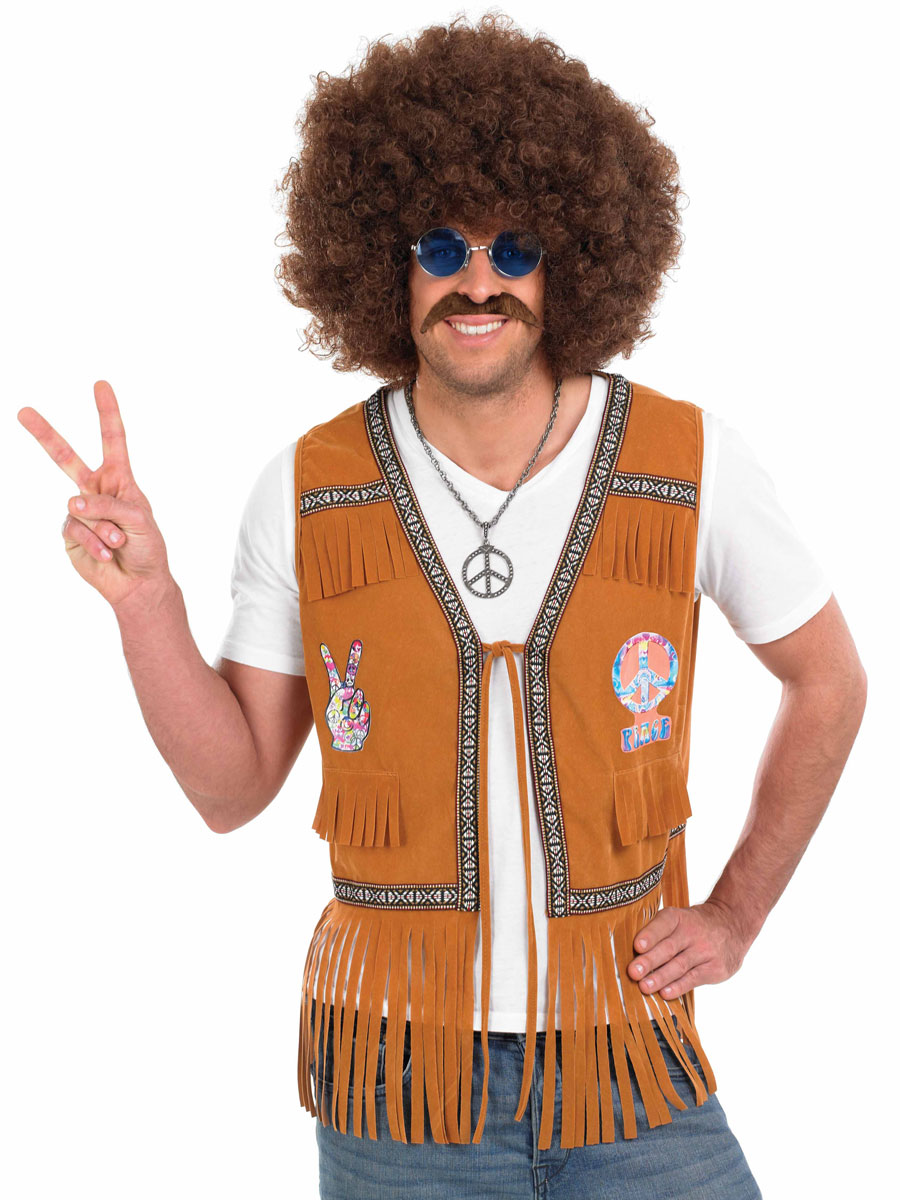 adult mens 60 39 s hippie fringed waistcoat fs3332 fancy dress ball. Black Bedroom Furniture Sets. Home Design Ideas