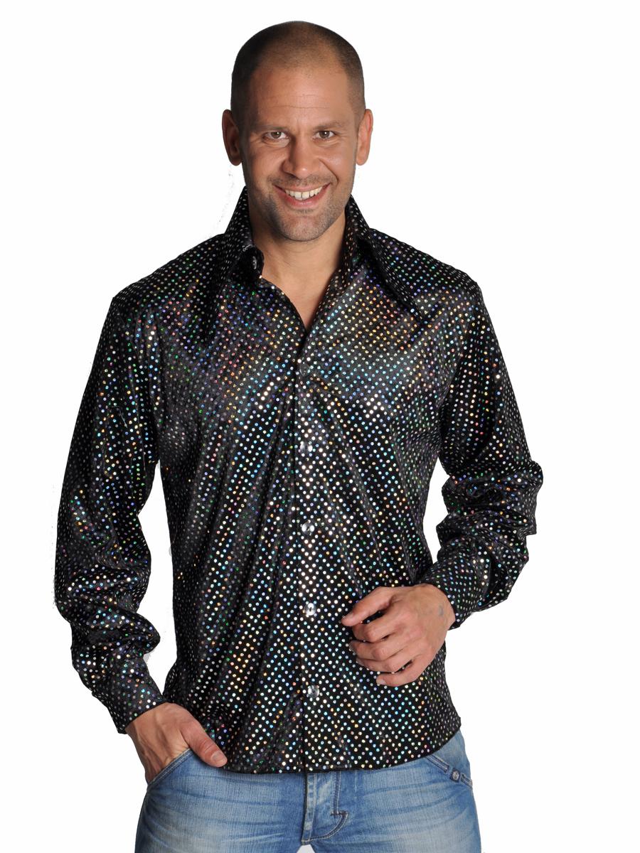 mens disco sequinned black shirt