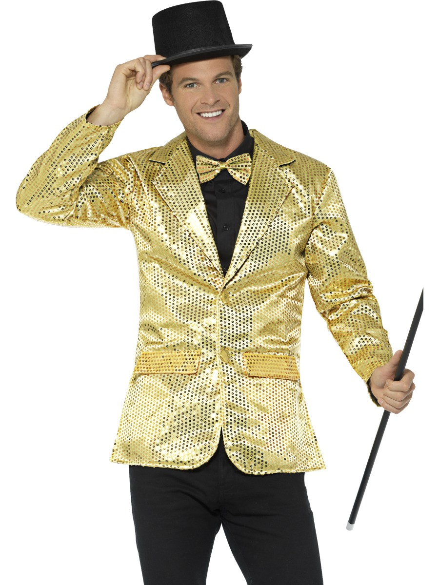 Mens Gold Sequin Jacket 21163 Fancy Dress Ball