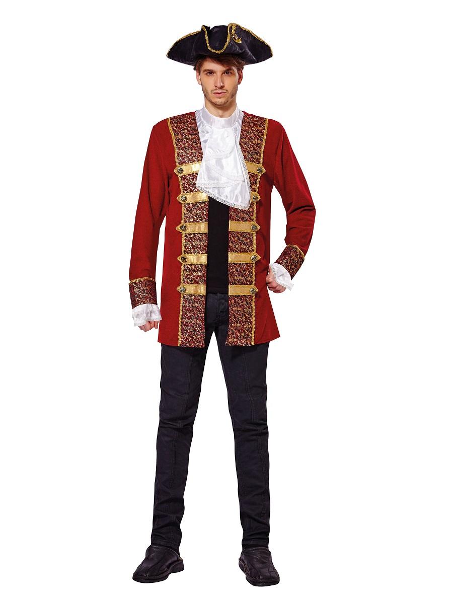 Mens Red Pirate Coat Costume Af009 Fancy Dress Ball