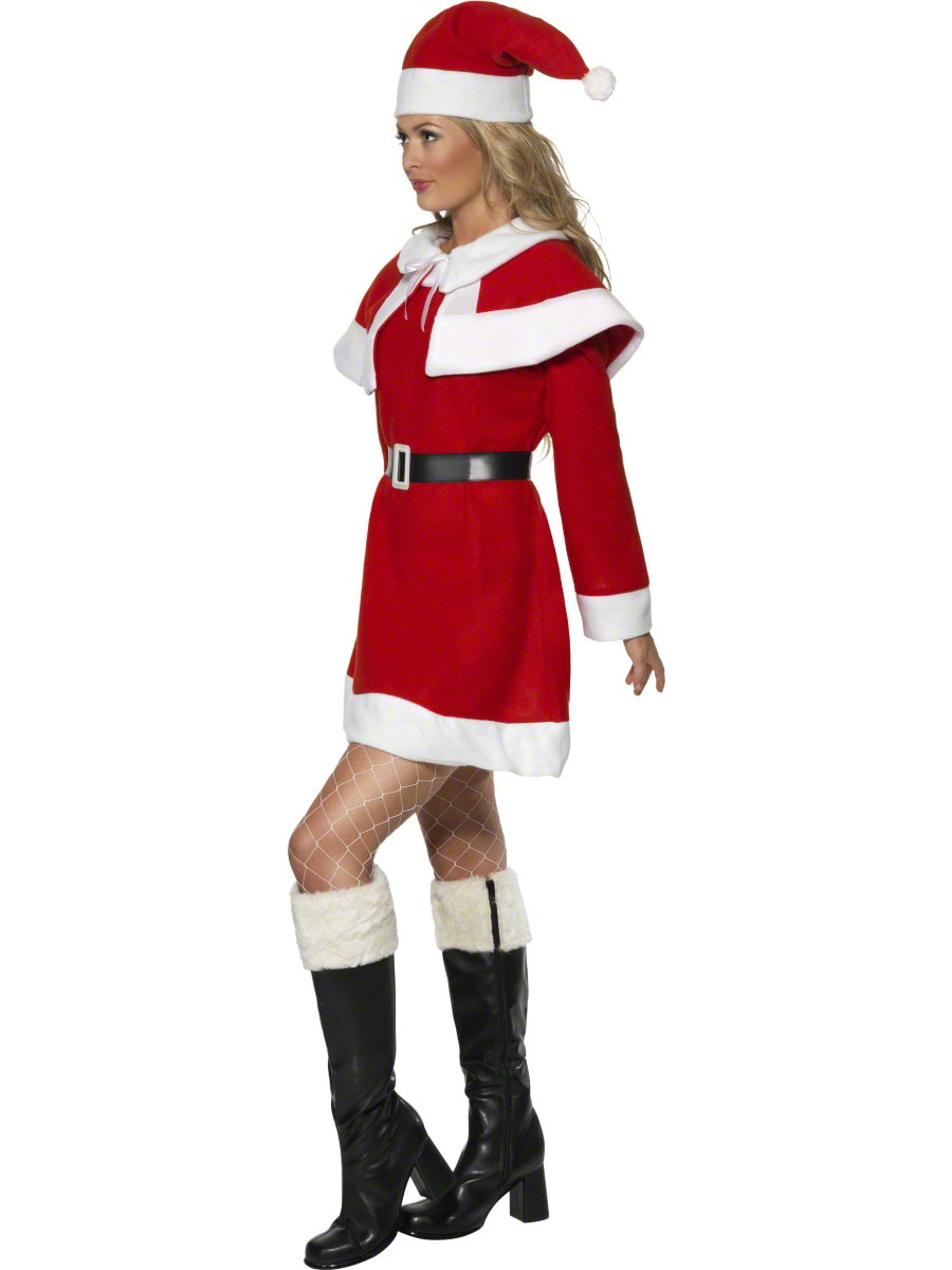 adult miss santa red fleece costume 24506 fancy dress ball. Black Bedroom Furniture Sets. Home Design Ideas