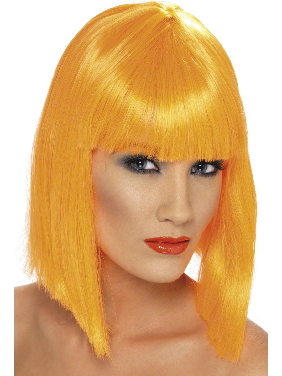 Neon Orange Glam Wig 42139 Fancy Dress Ball