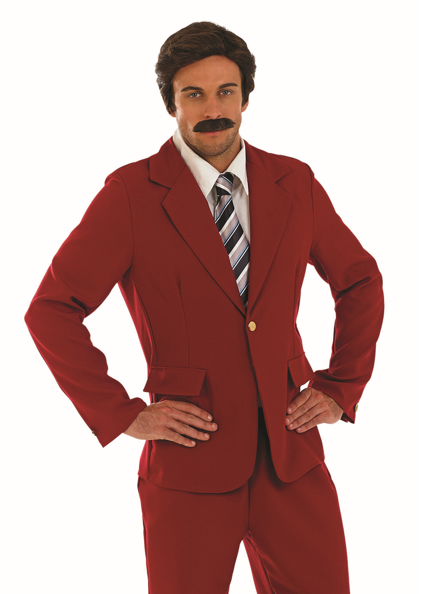 The Mens Ron Burgundy Leisure Suit Costume includes a suit, tie, and press pass. Gain all access to the legendary parties and be the legend. Stay classy.