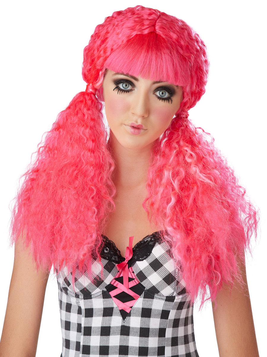 pink crimped doll wig - 70730