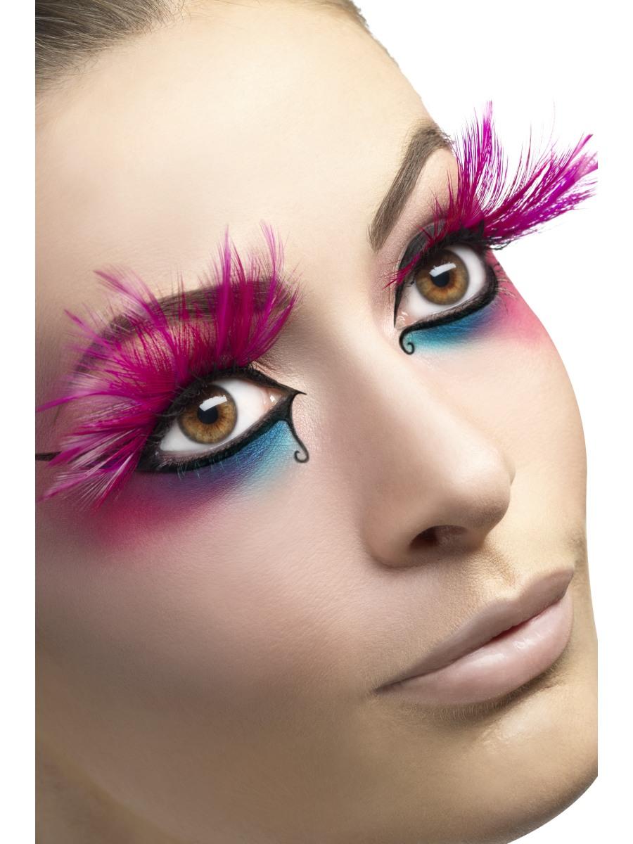 6485400cae7 Pink Feather Plume Eyelashes - 24254 - Fancy Dress Ball