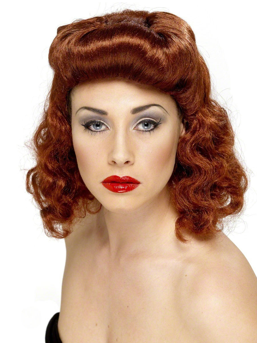 Pin up girl wig auburn 42223 fancy dress ball