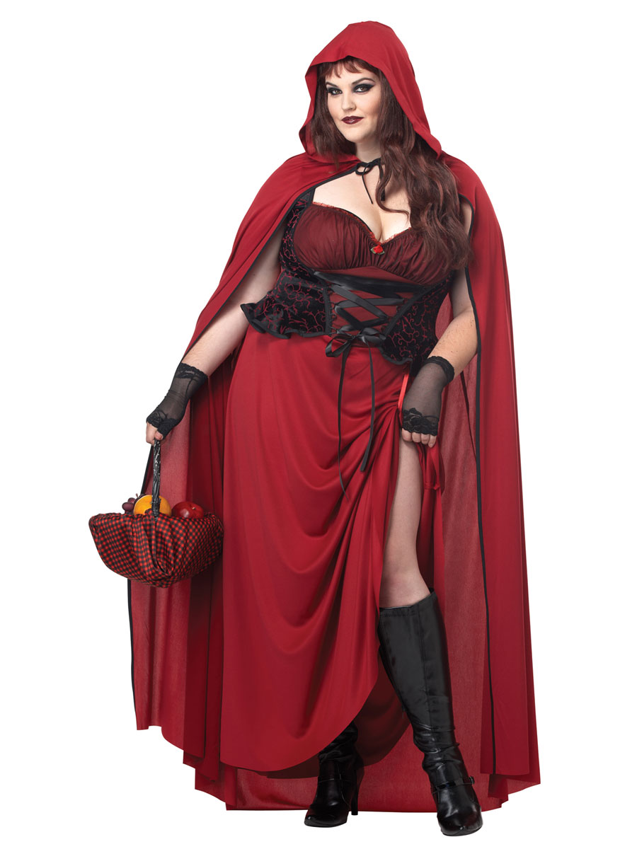 Adult Plus Size Dark Red Riding Hood Costume 01719 Fancy Dress Ball