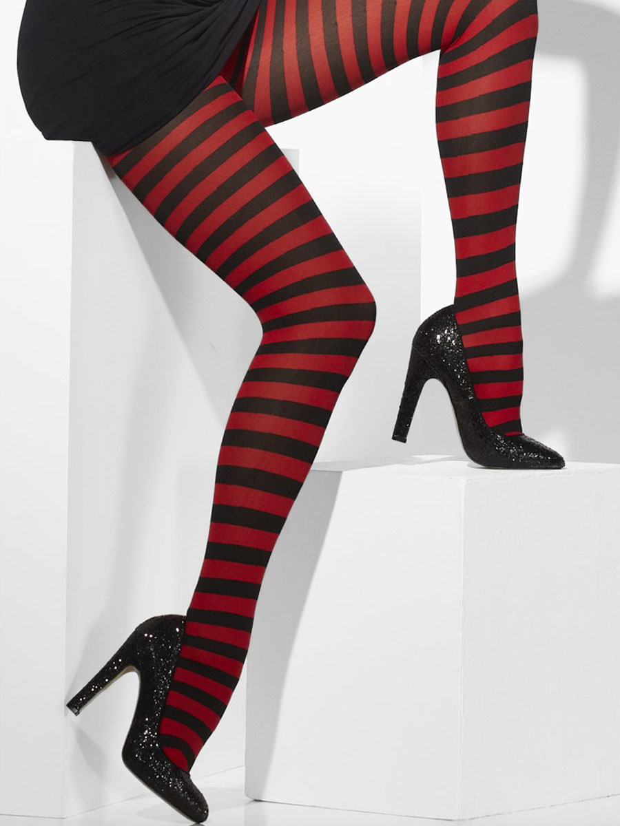 Description. Opaque red and black striped tights are a fun accessory for any outfit. Easy to wear and easy on the wallet. Only for those legs seeking attention as these stripes are anything but subtle.