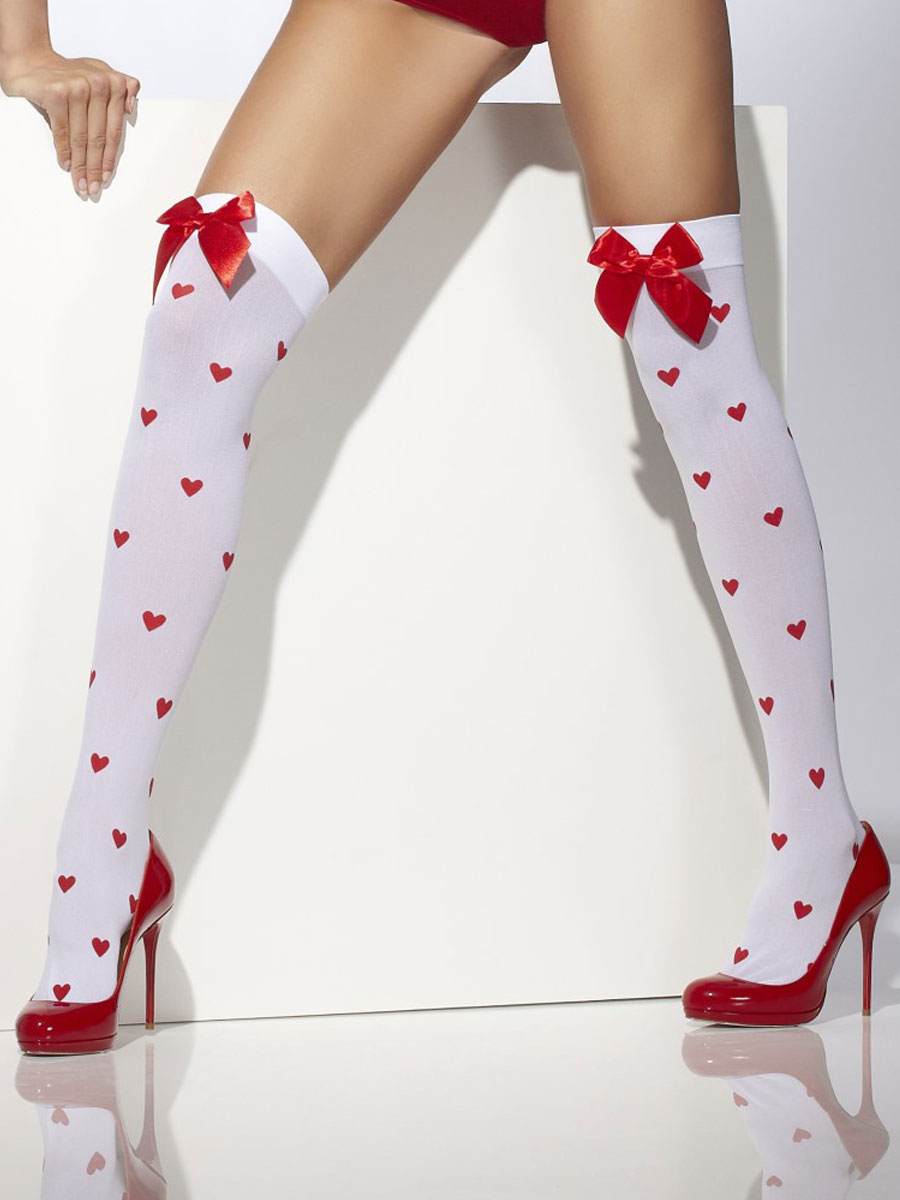 3ef7ca10ab7a0 Red & White Heart Pattern Thigh Highs - 42779 - Fancy Dress Ball