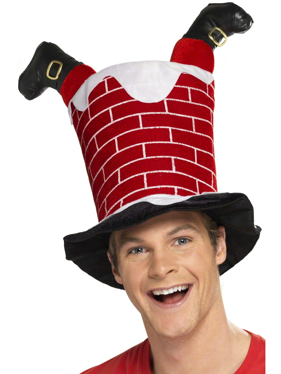 Santa stuck in chimney hat  fancy dress ball